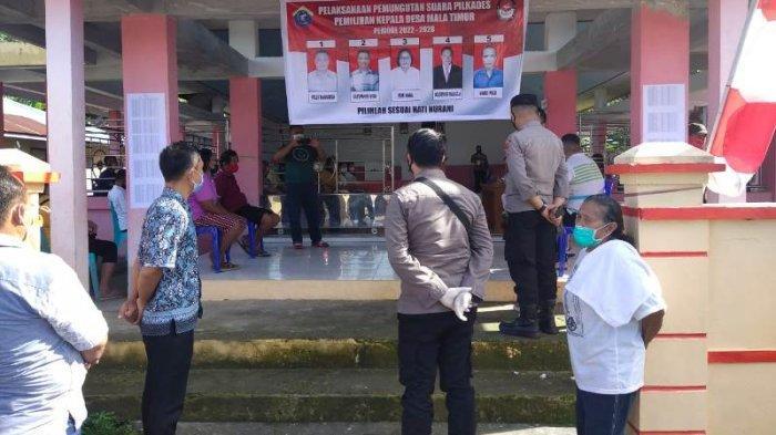 TNI Polri dan Pemerintah Kecamatan Melonguane melaksanakan pemantauan langsung situasi Pilkades Serentak 2021, Rabu (14/7/2021).