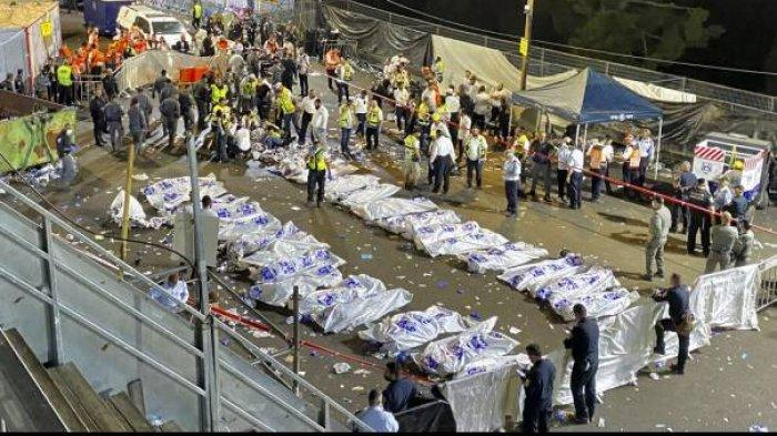 Tragedi Festival Lag B'Omer di Israel, Tribun Rubuh, Orang Saling Injak, 44 Orang Tewas