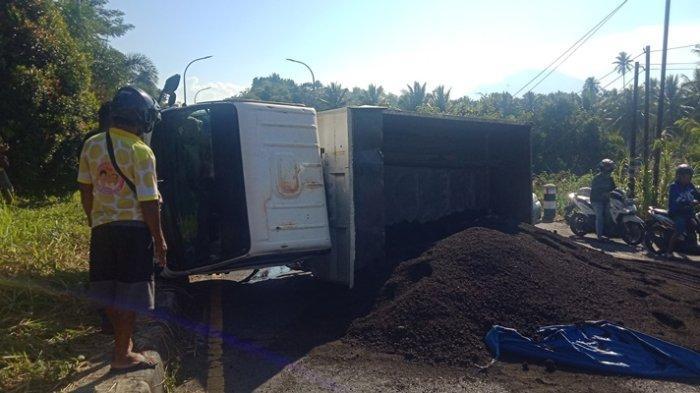 Supir Truk yang Terguling di Jalan Ring Road Manado Sebut Penyebabnya Karena Bola Belakang Pecah