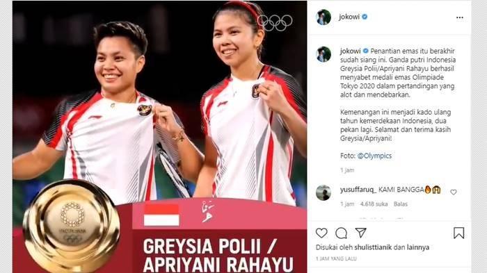Beri Selamat untuk Greysia Polii dan Apriyani Rahayu, Jokowi: Kado Ulang Tahun Kemerdekaan Indonesia
