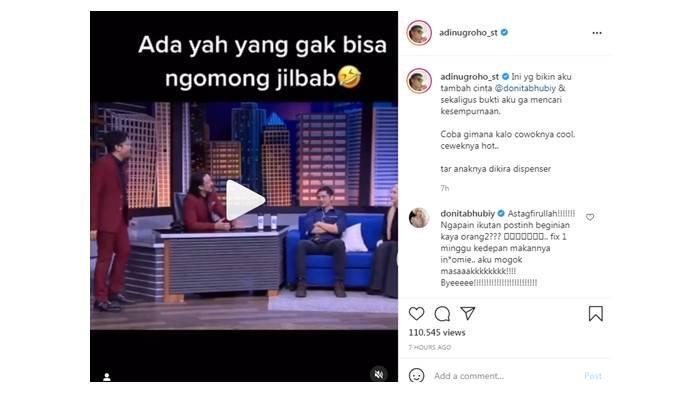 Unggahan Adi Nugroho soal Donita yang tak tahu ucap Jilbab diprotes sang istri; foto diunggah Kamis (29/7/2021).