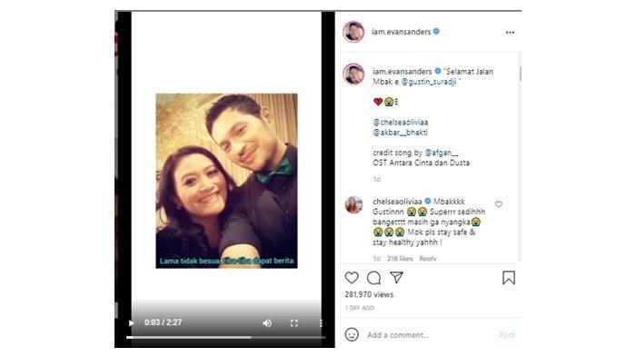 Unggahan Evan Sanders tentang meninggalnya penulis skenario Gustin Suradji; diunggah di Instagram, (7/7/2021).