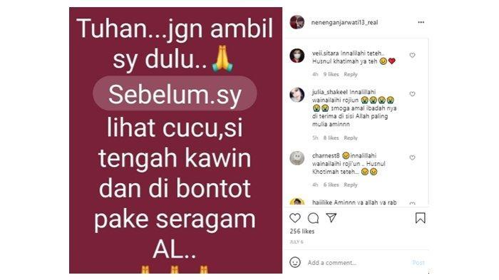 Unggahan terakhir Neneng Anjarwati sebelum meninggal dunia; diunggah di Instagram, (5/7/2021).