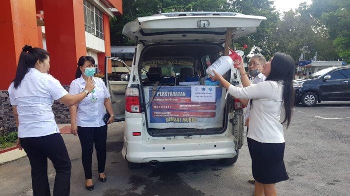 UPT PPD Manado Lakukan Penyemprotan Disinfektan di Tempat Pembayaran Pajak Kendaraan