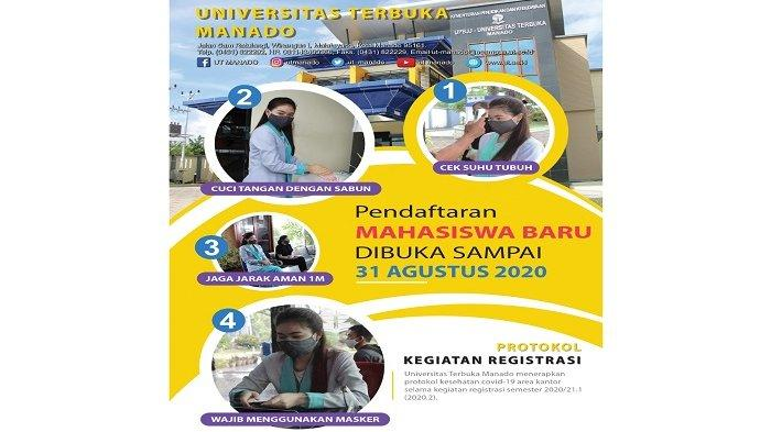 Universitas Terbuka Manado, Pendaftaran Mahasiswa Baru Sampai 31 Agustus 2020