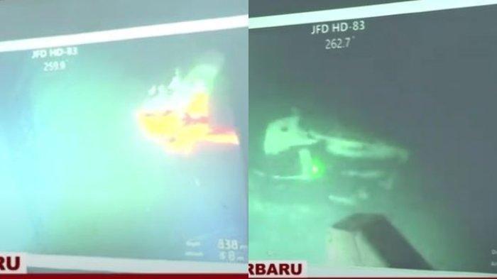 Kolase foto ROV MV Swift Rescue Temukan Kapal Selam KRI Nanggala 402, Kondisinya Terbagi 3 Bagian