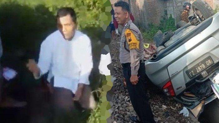 Video Detik-detik Pengendara Selamat Dari Maut, Bersimpuh Usai Dihantaman Kereta, Mobilnya Terbalik