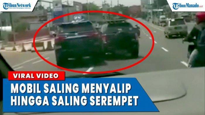 VIDEO Viral Mobil Saling Nyalip Hingga Saling Serempet