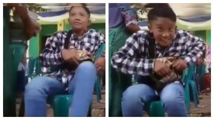 VIDEO VIRAL - Seorang Bocah Kantongi Kue Kondangan Diam-diam, Lihat Reaksinya
