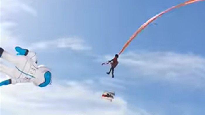Video Viral Balita Terlilit Ekor Layangan Terbawa Melayang ke Udara, Warga Heboh Berusaha Selamatkan