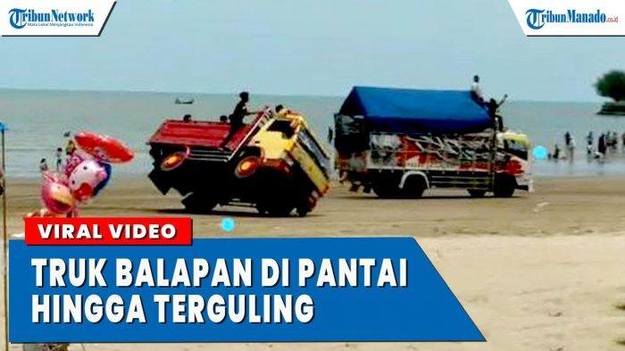 VIDEO Viral 2 Truk Balapan di Pantai Hingga Terguling