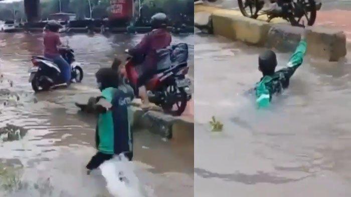 VIRAL, Driver Ojek Online Tercebur Saat Banjir, Masih Bisa Ketawa Meski Menahan Sakit