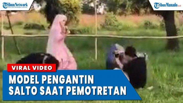 VIDEO Viral Pengantin dan Fotografer Jungkir Balik Saat Pemotretan