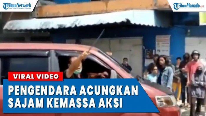VIDEO Viral Pengendara Acungkan Sajam pada Pendemo di Tengah Jalan