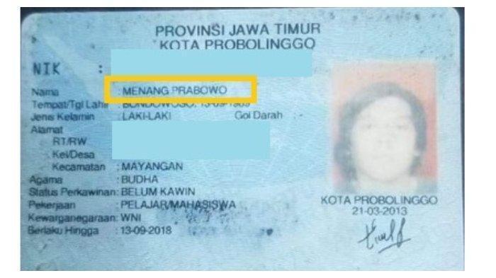 Viral di Medsos, Pria dalam KTP ini Bernama 'Menang Prabowo', Berikut Faktanya!