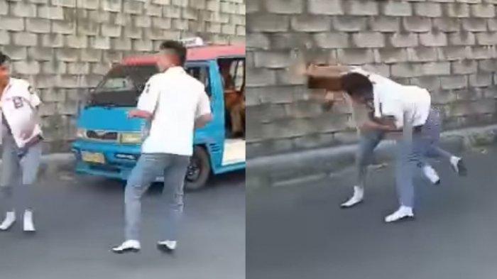 VIRAL, 2 Siswa SMA di Manado Berkelahi, Masih Kenakan Seragam: Itu Baru Bilang Laki-laki