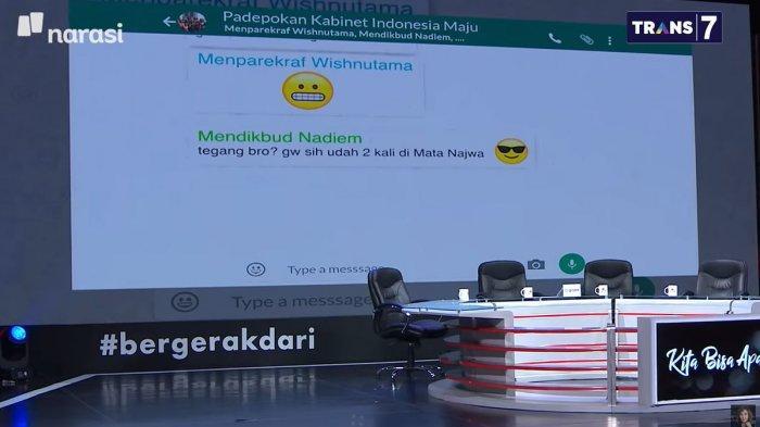 Chat Menteri Jokowi Dibeber di Mata Najwa, Wishnu, Nadiem,Erick ThohirBikin Prabowo Keluar Grup WA