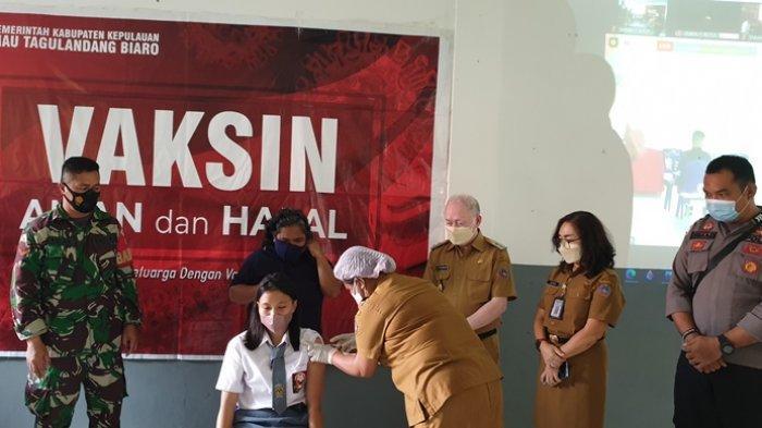 Hari Pertama Vaksinasi Anak di Kabupaten Sitaro, Diikuti 50 Pelajar