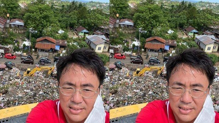 Hari Libur, 'Ahok Manado' Mendaki Gunung Sampah Setinggi Puluhan Meter