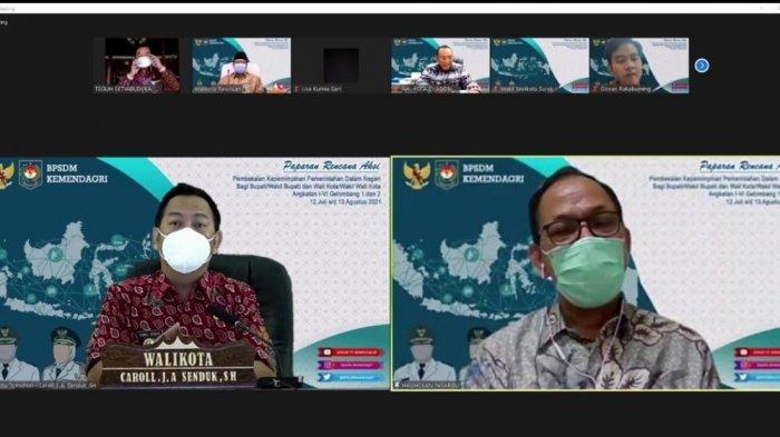 Wali Kota Tomohon Caroll Senduk saat mengikuti kegiatan pemaparan rencana aksi dari Command Center.