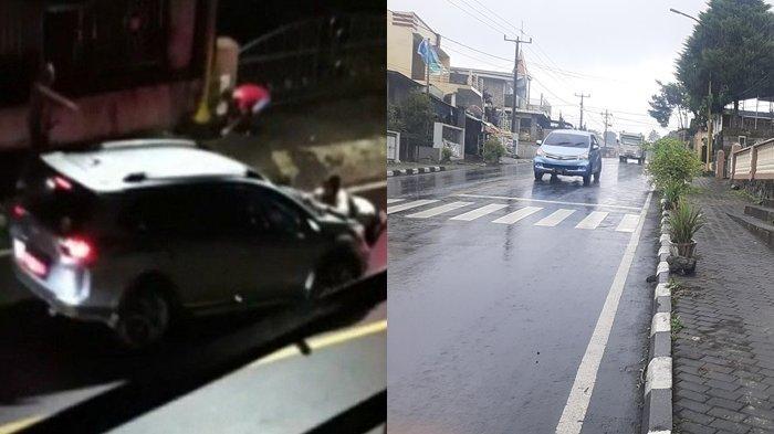 Tangkapan layar video yang beredar (kiri), dan Lokasi kejadian video viral perempuan diseret mobil Honda BRV Abu-abu DB 1513 BJ.