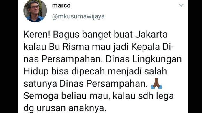 6 Fakta Tweet Marco, Anggota TGUPP Anies Baswedan yang Diduga Beri Sindiran untuk Tri Rismaharini
