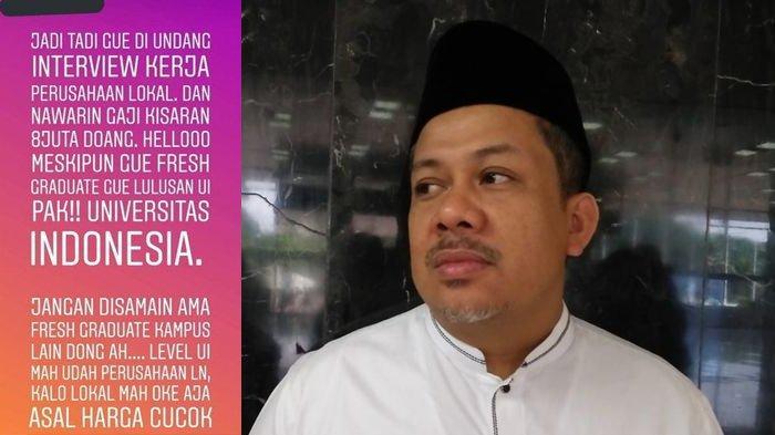 Alumni UI, Fahri Hamzah Sebut Wajar Jika Fresh Graduate dari Universitas Indonesia Tolak Gaji 8 Juta