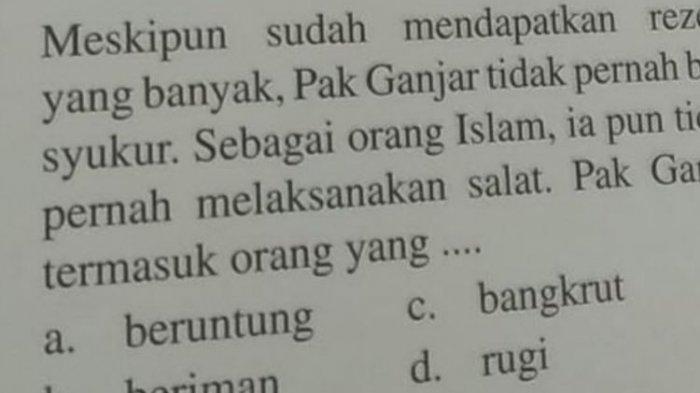 Viral Soal Agama SD 'Ganjar Tak Sholat & Tak Bersyukur', Tanggapan Penerbit hingga Gubernur Jateng