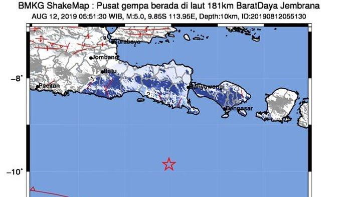 Dua Kali Gempa Bumi Guncang Bali Senin 12 Agustus 2019 Pagi Ini, Getaran sampai Banyuwangi & Jember