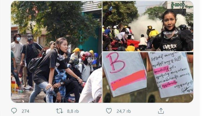 Ma Kyal Sin alias Angel mengenakan kaus bertuliskan 'Everything will be OK' di tengah demonstrasi antimiliter di Myanmar sebelum ia tewas tertembak.