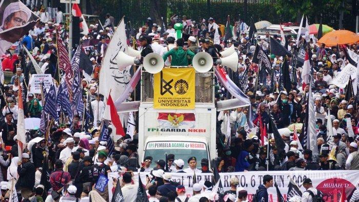 Dokumentasi: Massa Mujahid 212 menggelar aksi dengan tajuk Aksi Mujahid 212 di kawasan Bundaran Patung Kuda, Jakarta Pusat, Sabtu (28/9/2019). Tribunnews/Muhammad Iqbal Firdaus