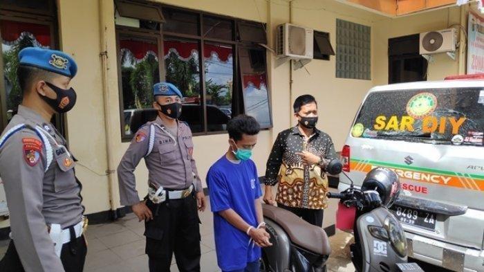 Pelaku penyerangan dan perusakan mobil Ambulans SAR DIY yang berhasil diamankan Polres Bantul, Rabu (14/7/2021)