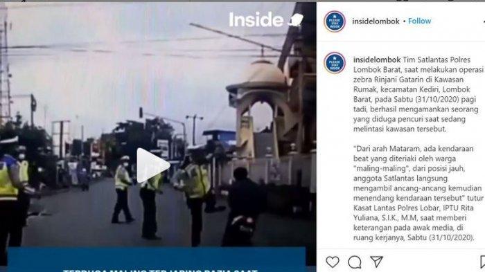 Detik-detik Pencuri Motor Ditendang Polisi NTB saat Terobos Razia, Beraksi saat Pemilik Buang Air