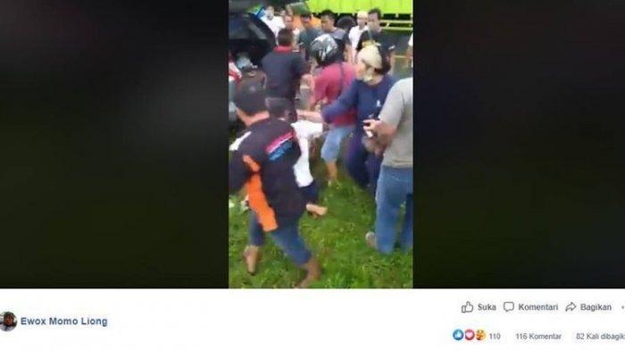 Viral Video Polisi & Istri Selamatkan Jambret dari Amukan Massa, Berlutut Memohon Meski Kena Pukul