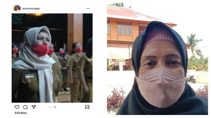 (Kiri) Postingan viral terkait kejadian kepala sekolah di Minahaa Utara dilantik tapi tak ada sekolahnya dan (Kanan) Rasni Bone saat ditemui rekan wartawan.
