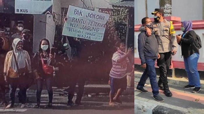 Polisi membantah jika pihaknya menangkap peternak di Blitar yang bentangkan poster ke arah Jokowi.