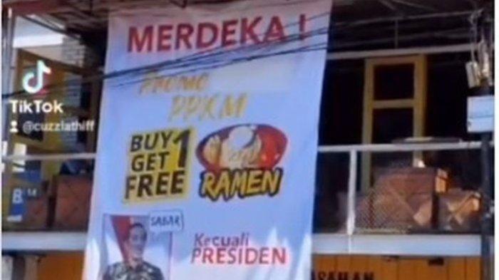 Sebuah kedai ramen bernama Kedai Ranjang 69 di Garut, Jawa Barat, mendadak jadi perbincangan setelah baliho promo produknya viral di media sosial. Baliho yang viral itu bertuliskan Merdeka Promo PPKM beli satu gratis satu kecuali presiden dengan menampilkan foto Presiden Joko Widodo.