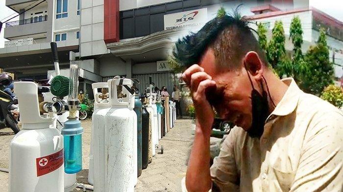 Shiri menangis saat mengantre oksigen, di Jalan Veteran, Kota Pontianak, Kalbar, Kamis 22 Juli 2021 siang WIB. Sang bunda yang membutuhkan oksigen meninggal dunia saat Shiri mengantre.