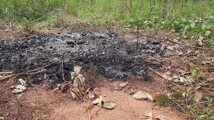Sosok mayat hangus terbakar diduga berjenis kelamin wanita ditemukan seorang warga Desa Suradita, Cisauk, Kabupaten Tangerang di sebuah lahan kosong, Sabtu (10/7/2021).