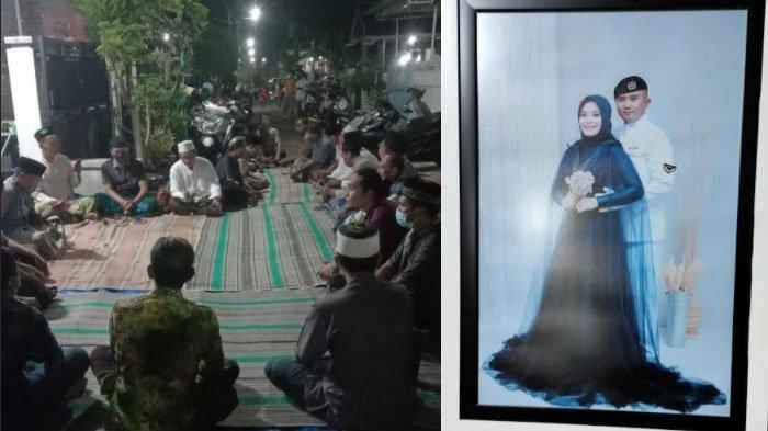 Suasana doa bersama di rumah Peltu Wahyudi (ayah Pandu) dan foto Serda Ede Pandu Yudha Kusuma bersama istri.