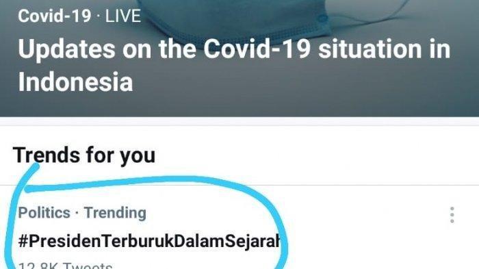 Tagar #PresidentTerburukDalamsejarah trending di Twitter pagi ini, Rabu 21 Juli 2021.