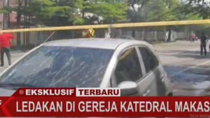 Tangkapan layar kondisi di depan Gereja Katedral Makassar usai ledakan yang terjadi pada Minggu (28/3/2021)