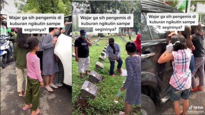 Tangkapan layar video unggahan akun TikTok @dimasnabawii. Aksi pengemis anak-anak mengikuti peziarah di Bandung sampai gedor mobil.