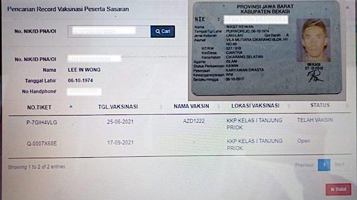 Warga Kabupaten Bekasi, Jawa Barat gagal mengikuti vaksinasi karena nomor induk kependudukan atau NIK KTP Elektronik dipakai warga orang lain.