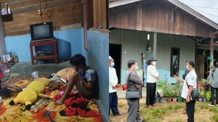 Vino, bocah kelas tiga Sekolah Dasar (SD) saat sedang jalani isolasi mandiri di Kampung Linggang Purworejo, Kabupaten Kutai Barat, Kalimantan Timur, Kamis (22/7/2021).