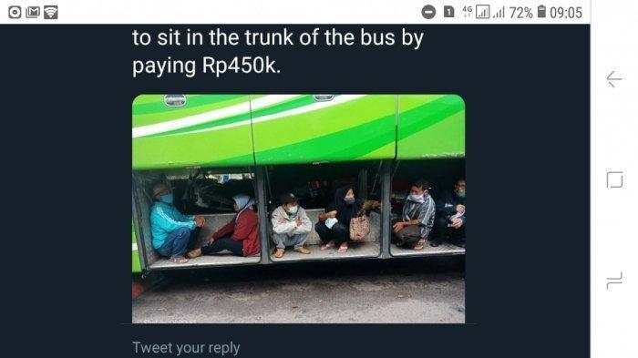 Viral Foto Penumpang Nekat Mudik Duduk di Bagasi Bus, Bayar Rp 450 Ribu Hindari Titik Pemeriksaan