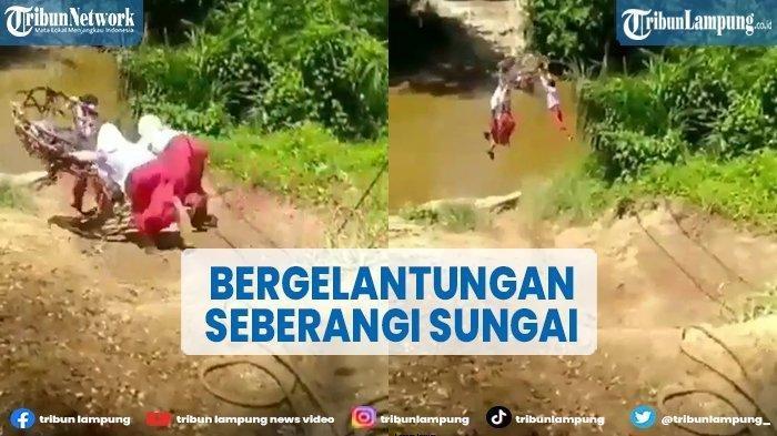 Viral Video 3 Bocah SD Gelantungan Seberangi Sungai, Babinsa: Lagi Main, Jembatan Ada di Sebelahnya
