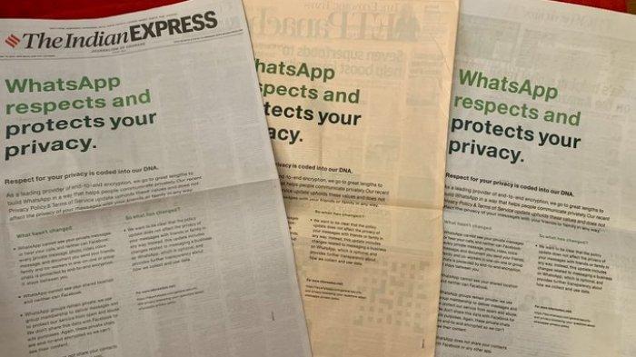 WhatsApp pasang iklan di koran.