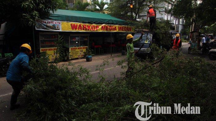 Sejumlah pekerja memangkas ranting pohon di Jalan Agus Salim, Medan, Selasa (8/6/2021). Pemangkasan pohon yang dilakukan oleh pihak PT. PLN tersebut untuk mencegah adanya arus hubungan pendek yang diakibatkan oleh terlalu dekatnya ranting pohon dengan jaringan listrik.