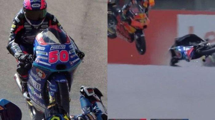Foto kecelakaan fatal yang menimpa Jason Dupasquier pebalap motor yang berusia 19 tahun saat berlaga di sesi kualifikasi Moto3.